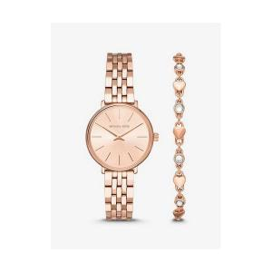 Mini Pyper Rose Gold-Tone Watch and Heart Link Bracelet Set