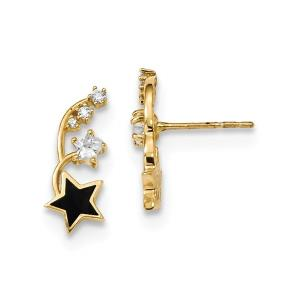 14k Madi K Polished Enameled and CZ Stars Post Earrings
