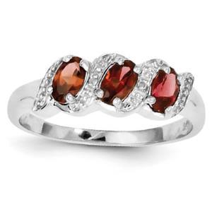 Sterling Silver Rhodium Garnet & Diamond Ring