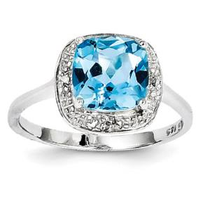 Sterling Silver Rhodium Plated Diamond & Light Swiss Blue Topaz Ring