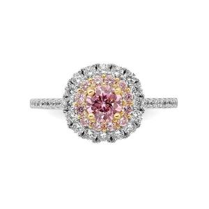 Sterling Silver Rhodium-plated/Gold-tone Pink and White CZ R/C Ring