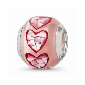 Sterling Silver Reflections Pink Fiber Optic Glass Mosaic Bead