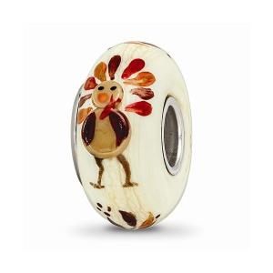 Ster.Silver Reflections Hand Painted Gobble Gobble Fenton Glass Bead