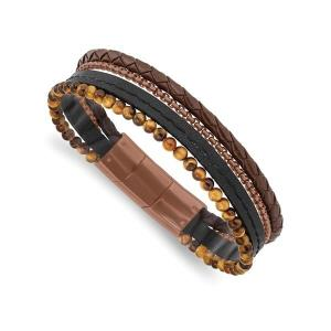 Stainless Steel Polished Brown IP with Tiger^s Eye Leather with .5in ext Bracele
