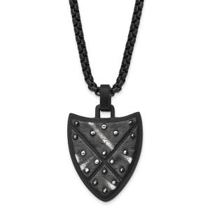 Stainless Steel Antiqued and Brushed Black IP-plated Shield 24in Necklace