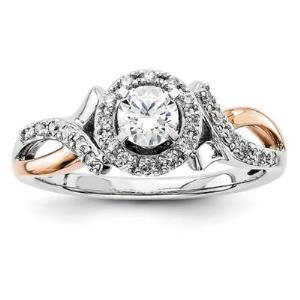 14k White & Rose Gold Diamond Semi-mount Ring