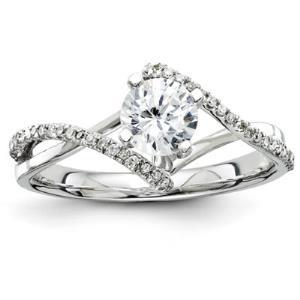 14k White Gold Diamond Semi Mount Ring