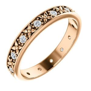 14K Rose 1/4 CTW Diamond Eternity Band Size 7