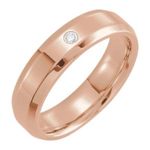 14K Rose .04 CTW Diamond Beveled Edge Band Size 10