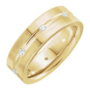 14K Yellow 1/6 CTW Diamond Comfort-Fit Grooved Band