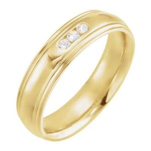 14K Yellow 1/8 CTW Diamond Half-Round Edge Band Size 10