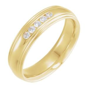 14K Yellow 1/5 CTW Diamond Half-Round Edge Band Size 10