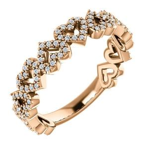 14K Rose 1/3 CTW Diamond Stackable Heart Ring