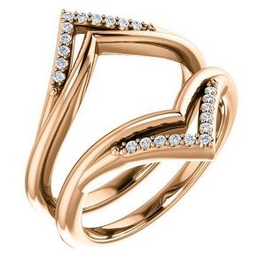 14K Rose 1/8 CTW Diamond Ring Guard