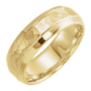 14K Yellow 7 mm Comfort-Fit Band with Hammered Finish Size 10