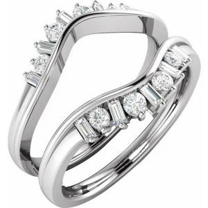14K White 3/8 CTW Diamond Ring Guard