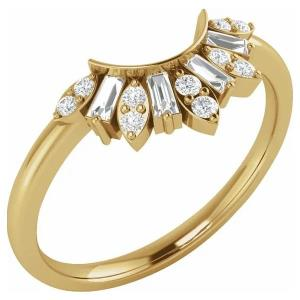 14K Yellow 1/5 CTW Diamond Contour Band