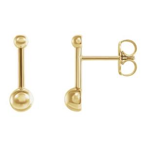 14K Yellow Bar & Ball Earrings