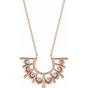 "14K Rose 1/8 CTW Diamond Fan 16"" Necklace"