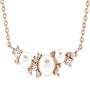 "14K Rose Akoya Cultured Pearl & .08 CTW Diamond 16"" Necklace"