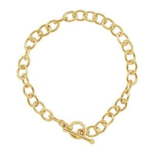 "24K Yellow Gold-Plated 7 1/4"" Cable Bracelet with Toggle"