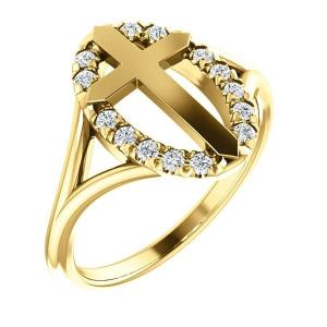 14K Yellow 1/5 CTW Halo-Style Cross Ring