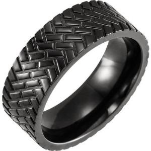 Black Titanium Comfort-Fit Patterned Band Size 11