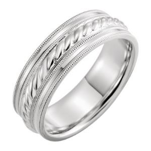14K White 7 mm Comfort-Fit Patterned Band with Milgrain Band Size 11